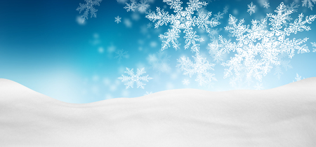 Abstract Azure Blue Background Panorama Winter Landscape with Falling Filigree Snowflakes. Snowy Ground with Fresh Snow. Holiday Season Backdrop Template.