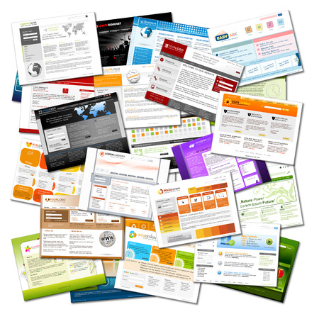 Web Site - Colorful Plenty of Webdesign Templates - Website Homepage Backdrop on White Background