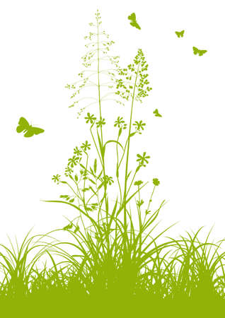 herbage: Fresh Green Grass with Herbage and Butterflies in Springtime on White Background - Graphic Illustration Stock Photo