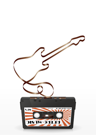analogous: Audio Cassette with Abstract Curved Tape - Guitar Silhouette - on White Background Stock Photo