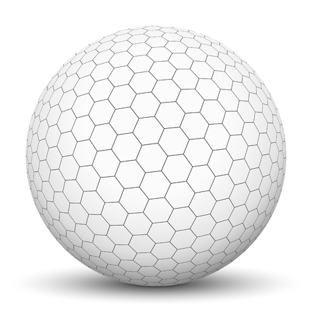White 3D Sphere with Mapped Black and White Honeycomb Texture - Vector Illustration