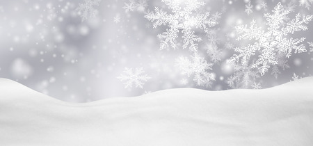 christmas backdrop: Abstract Silver Background Panorama Winter Landscape with Falling Filigree Snowflakes. Snowy Ground with Fresh Snow. Holiday Season Backdrop Template.