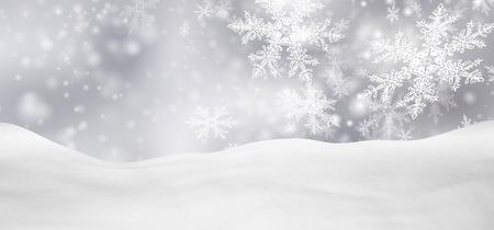 horizontální: Abstrakt stříbrné pozadí Panorama Zimní krajina s padajícím filigrán sněhové vločky. Zasněžené hřiště s čerstvým sněhem. Prázdnin Pozadí šablony.