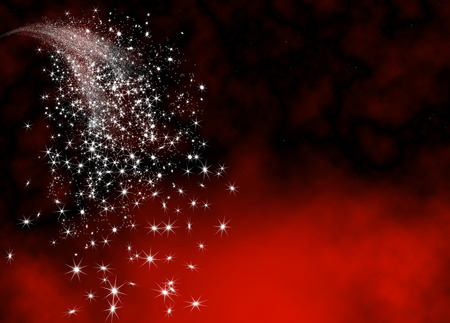 Abstract Bright and Glittering Falling Star Tail - Shooting Star with Twinkling Star Trail on Dark Red Background. Sparkling Starlets Backdrop with Free Text Space. Greeting Card Template.