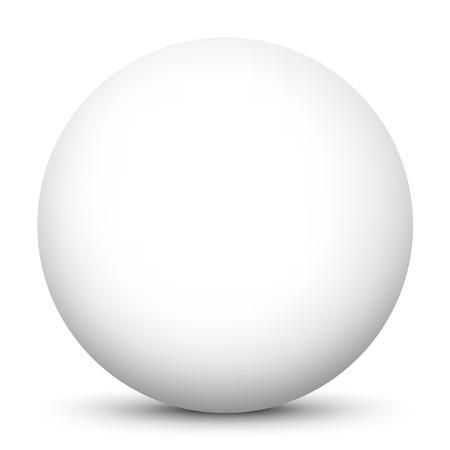 llanura: Simple y limpio Hermosa vector Esfera con la superficie blanca sobre fondo blanco y sombra suave - la bola, globo, botón, Burbuja, Pearl
