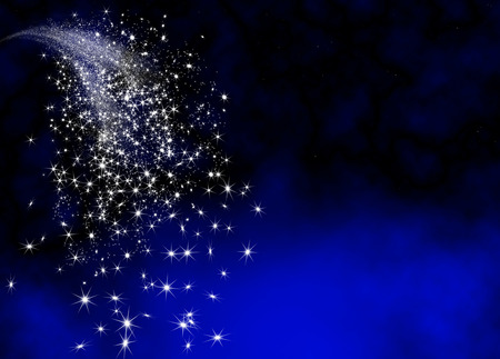 Abstract Bright and Glittering Falling Star Tail - Shooting Star with Twinkling Star Trail on Dark Blue Background. Sparkling Starlets Backdrop with Free Text Space. Greeting Card Template.