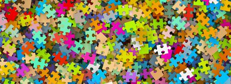 disordered: Colored Puzzle Pieces Heap Panorama - JigSaw - Illustration