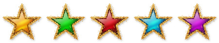 five stars: Five Stars Voting - Five Colourful Stars - 5, 5th - Five Point Recension, Rating Winner - Assessment of Value for Websites, Shops, Blog or Forums. With Spangled Golden Starlet Border. Stock Photo