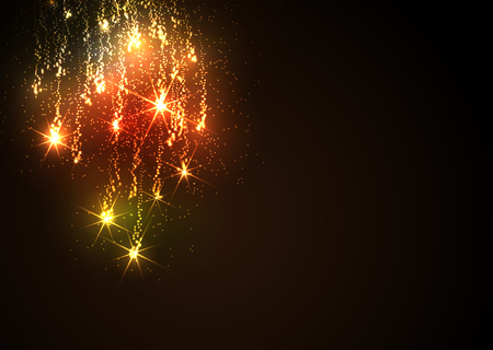Abstract Golden Meteor Shower - Firework Falling Stars Trail - Dark Background. Flyer or Design Template for New Years Eve or Christmas Season Greetings and Invitation Cards.Twinkling and Glittering. Banque d'images