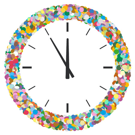 five to twelve: Colourful Round Abstract Frame Formed of Confetti with Clock Symbol - New Years Eve Greeting Card -  Five Before Twelve - Dots, Polka Dots, Points - Particle Design Stock Photo