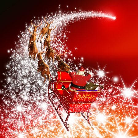 Santa Claus with Reindeer Sleigh Flying on a Falling Star. Abstract Holiday Season Christmas Design with Red Gradient Background. Shooting Star, Meteor, Comet - X-Mas, XMas Greeting Card.