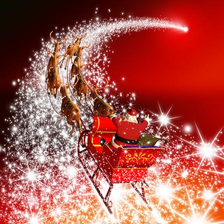 Weihnachtsmann mit Ren-Pferdeschlitten-Fliegen auf einer Sternschnuppe. Abstrakt Ferienzeit Weihnachts-Design mit roten Gradienten Hintergrund. Shooting Star, Meteor, Comet - X-Mas, Xmas Greeting Card.