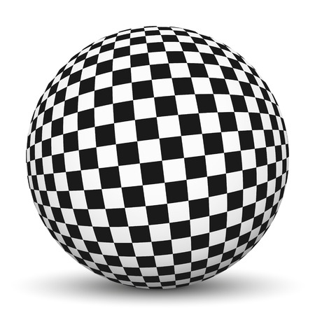 White 3D Sphere with Mapped Checkerboard Texture on White Background and Smooth Shadow Stock Photo