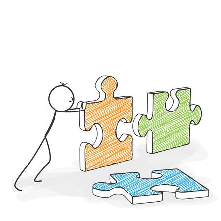 Strichmännchen in Action - Stickman Schiebt Puzzle Icons zusammen. Stick Man Vektorzeichnung mit weißem Hintergrund und transparent, Abstrakt Drei farbige Schatten auf den Boden.
