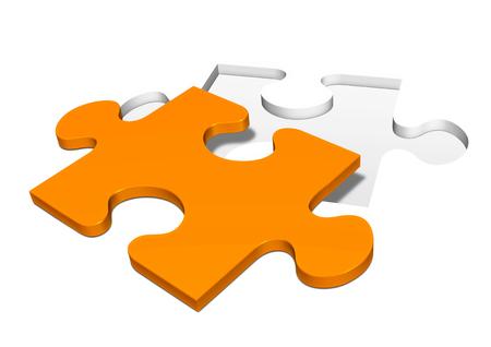 白地 - パズルから単一のオレンジ色と分離のジグソー パズルのピースをパンチ