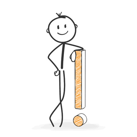 pantomime: Stick Figure in Action - Stickman with an Exclamation Point Icon. Has Found Solution. Stick Man Vector Drawing with White Background and Transparent, Abstract Three Colored Shadow on the Ground.