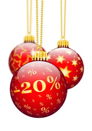 Zwanzig Prozent, 20% - Preisreduktion Red Weihnachtskugeln - Weihnachtsangebote, Saison Discount und Werbung für Online-Shops. Weihnachtskugel zur Weihnachtszeit. Ornamente und Dekorationen für X-MAS.