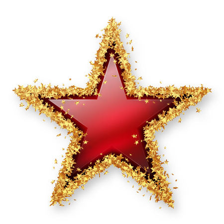 Red Ruby Coloured Gemstone Star with Spangled Golden Starlet Border. White Background with Smooth Shadow. Christmas Star, New Years Eve, Season. X-Mas Gem Jewel.