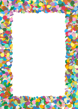 text free space: Abstract Colorful Rectangular Vector Confetti Frame with Free Space for Advertising and Text - Backdrop Template Border - Text Field, White Area - Dots, Points - Particle Design Stock Photo