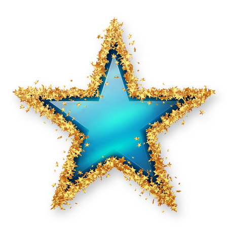 christmas star: Sapphire Blue Coloured Gemstone Star with Spangled Golden Starlet Border. White Background with Smooth Shadow. Christmas Star, New Years Eve, Season. X-Mas Azure Blue Gem Jewel.
