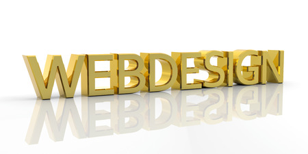 webdesign: Golden 3D Metallic Webdesign Word with Reflection on the Ground and White Background - Rendered Illustration Stock Photo