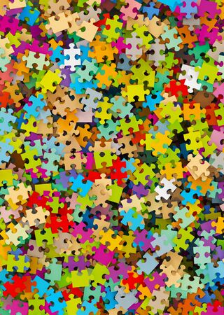 disordered: Colored Puzzle Pieces Heap - JigSaw - Graphic Illustration