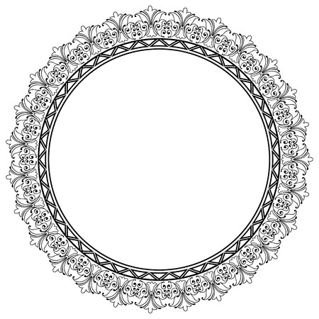other space: Decorative Vector Round Frame Template with Empty Space for Certificate, Report or other Documents Stock Photo
