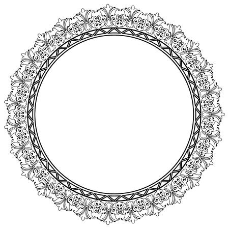 bordes decorativos: Plantilla decorativo Marco redondo del vector con el espacio vacío para el certificado, informes u otras comunicaciones