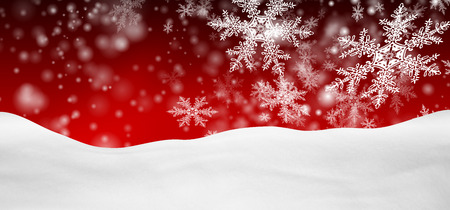 Abstract Red Background Panorama Winter Landscape with Falling Filigree Snowflakes. Snowy Ground with Fresh Snow. Holiday Season Backdrop Template.
