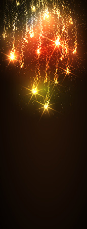 meteor shower: Website Banner Template - Abstract Dark Vertical Golden Meteor Shower Background - Firework Falling Stars Trail Backdrop - New Years Eve or Christmas Season Greeting Cards. Glittering Stars - X-Mas