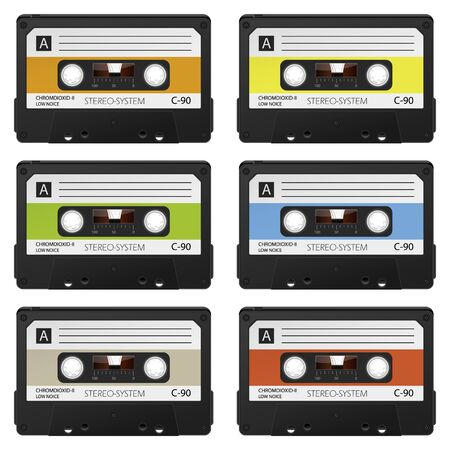 analogous: Old Vintage Vector Audio Cassettes Set - Colored Retro Compact Cassettes - Front View Collection Illustration