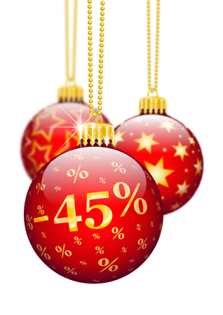 price reduction: Forty Five Percent, 45, Price Reduction Red Christmas Baubles - Christmas Offers, Seasonal Discount and Advertising for Online Shops. Christmas Ball for Christmas Time. Ornaments and Decorations for X-MAS.