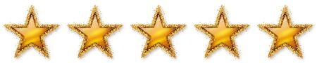Five Stars Voting - Fifth Golden Star - 5, 5th - Five Point Recension, Rating - Assessment of Value for Websites, Shops, Blog or Forums. With Spangled Golden Starlet Border. Banque d'images