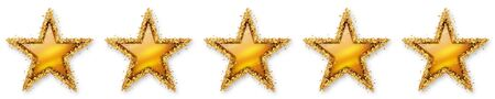 five stars: Five Stars Voting - Fifth Golden Star - 5, 5th - Five Point Recension, Rating - Assessment of Value for Websites, Shops, Blog or Forums. With Spangled Golden Starlet Border. Stock Photo