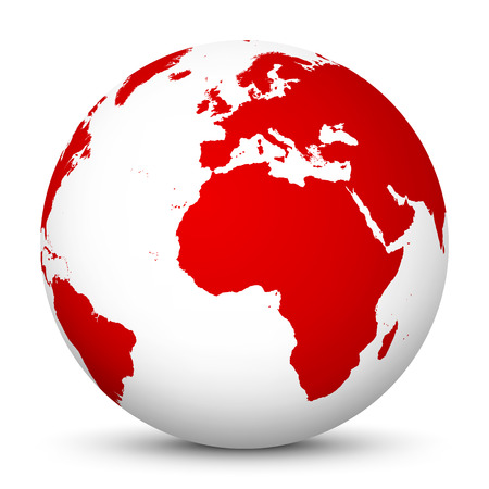 red sphere: White Globe with Red Continents and smooth Shadow on White Background - Planet Earth