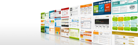 Perspective View of Website Templates Panorama - Webdesign Presentation Banner with Free Space for Your Logo - Web Design