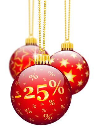 price reduction: Twenty Five Percent, 25% - Price Reduction Red Christmas Baubles - Christmas Offers, Seasonal Discount and Advertising for Online Shops. Christmas Ball for Christmas Time. Ornaments and Decorations for X-MAS. Stock Photo