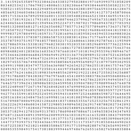 endlessly: Pi - 3.1415 - Mathematical Column of Figures Vector Background - Backdrop