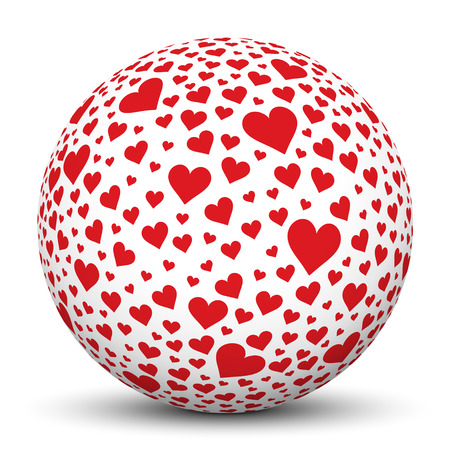 cordially: White 3D Sphere Icon with Red Heart Shape Imprints on White Background - 3D Graphic Illustration