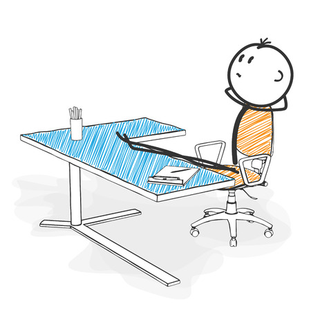 Stick Figure in Action - Stickman is Looking for New Pose Ideas in his Office. Stick Man Vector Drawing with White Background and Transparent, Abstract Three Colored Shadow on the Ground. Фото со стока