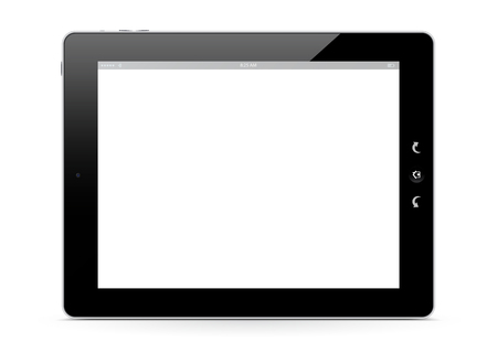 ebook reader: The Front of a E-Book Reader on White Background with Smooth Shadow on the Ground. White Free Advertising Space for Your Own Text or Graphic. With Black Shiny Frame. Graphic Illustration