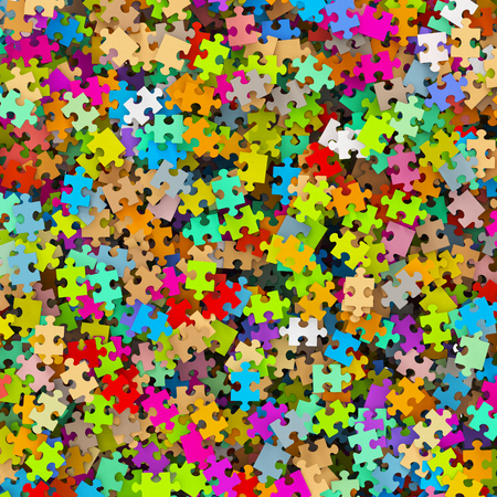 Colored Puzzle Pieces Heap - JigSaw - Illustration Stock Photo