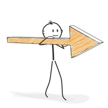 Stick Figure in Action - Stickman mit Pfeil-Symbol auf seiner Schulter. Stock-Mann-Vektor-Zeichenprogramm mit weißem Hintergrund und Transparent, Abstrakt Drei farbige Schatten auf den Boden.