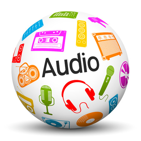 multimedia background: 3D Sphere on White Background with Different Colored Multimedia Icons and Audio Text Label