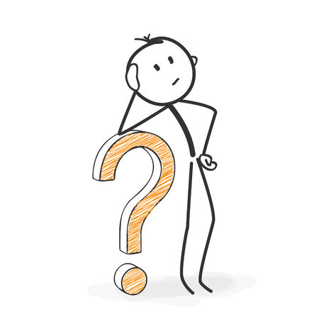 question concept: Stick Figure in Action - Stickman with a Question Mark Icon. Looking For Solutions. Stick Man Vector Drawing with White Background and Transparent, Abstract Three Colored Shadow on the Ground.