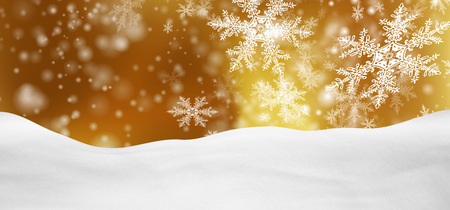 holiday season: Abstract Golden Background Panorama Winter Landscape with Falling Filigree Snowflakes. Snowy Ground with Fresh Snow. Holiday Season Backdrop Template.