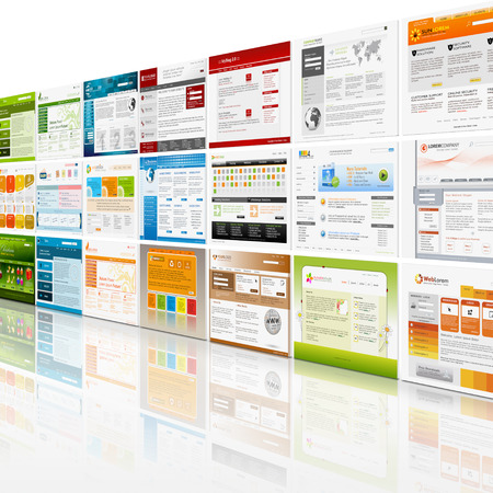 Perspective View of Website Template Wall with mirroring on the Floor - Web Design Banque d'images