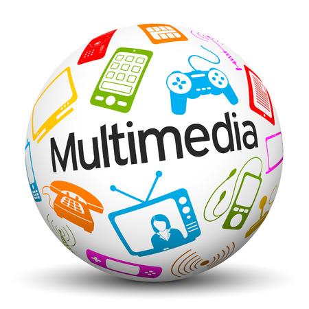 3D-Kugel auf weißem Hintergrund mit verschiedenen farbigen Multimedia Icons und Textbeschriftung Standard-Bild