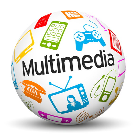 multimedia: 3D Sphere on White Background with Different Colored Multimedia Icons and Text Label Stock Photo