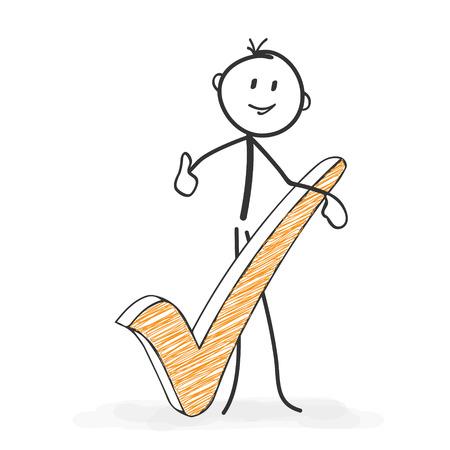 Figura del palillo en Acción - Stickman con una marca de verificación Icono. Todo bien. Stick Man dibujo vectorial con el fondo blanco y transparente, Resumen Tres Sombras de colores en el suelo.